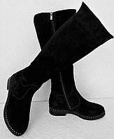 Женские зимние сапоги Limoda по колено со змейкой еврозима черные замша, фото 1