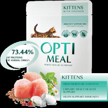 Полнорационный консервированный корм Optimeal для котят с курицей, набор (3+1) 340 г