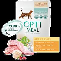 Полнорационный корм Optimeal для взрослых кошек с кроликом в белом соусе, набор (3+1) 340 г