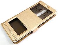 Чехол книжка с окошками momax для Meizu M6T золотой, фото 1