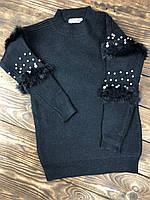 Свитер для девочки черный с жемчугом на рукавах, фото 1