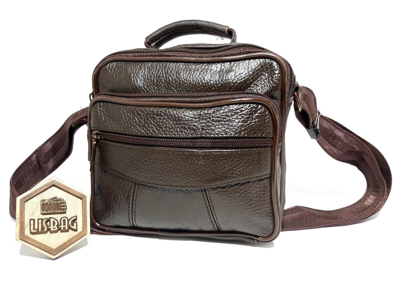 5da0aa8d9f16 Чоловіча середня темно- коричнева шкіряна сумка месенджер планшетка  барсетка класичного стилю