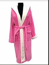 Женский махровый халат Soft (Длинный с капюшоном) Турция - розовый