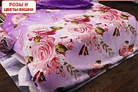 Полуторный пододеяльник из бязи - Розы и цветы вишни