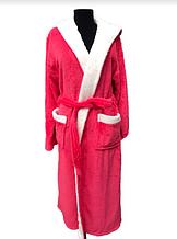 Женский махровый халат Soft (длинный с капюшоном) Турция  коралл