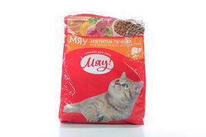 Сбалансированный сухой корм Мяу! для взрослых кошек с печенью, 400 г