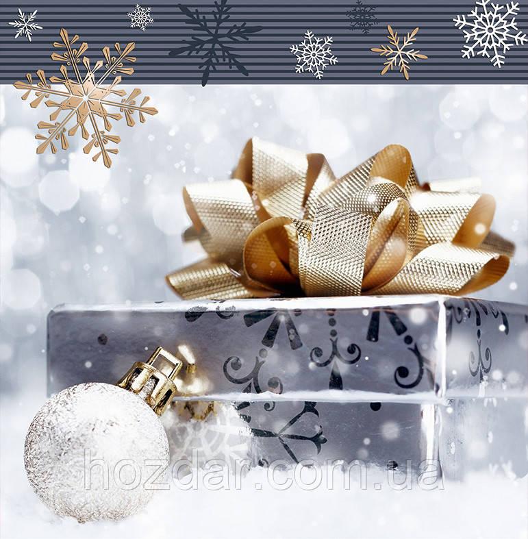 Новогодний пакет подарочный бумажный квадрат 23х24х10 (24-133)
