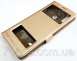 Чехол книжка с окошками momax для Huawei Honor Play золотой