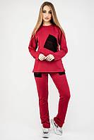 Спортивний костюм Сінді (бордовий) вільного крою 44-54 розміру, фото 1