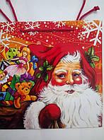 Новогодний пакет подарочный бумажный квадрат 23х24х10 (24-137)