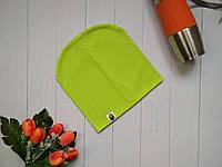 Яркая деми шапка резинка на подростка Bape Kids салатовая