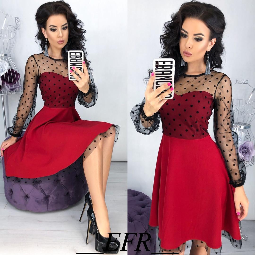 Платье женское вечернее, нарядное, раслешенное, роскошное, верх и рукав сетка флок в горошек