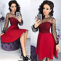 Платье женское вечернее, нарядное, раслешенное, роскошное, верх и рукав сетка флок в горошек, фото 1