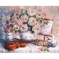 Картина по номерам «Розы и скрипка» 40*50 см.