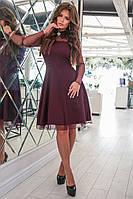 0aaef7ed6a3 Женское приталенное платье до колен низ костюмка верх из сетки 42