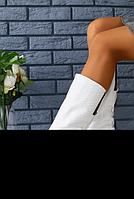 Сапоги БЕЛЫЙ ПИТОН  кожаные на низком ходу , фото 1