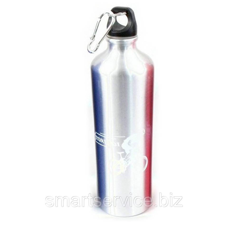 Бутылка спортивная металлическая, фляга велосипедная, с карабином