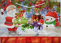 Новогодний пакет подарочный бумажный большой горизонтальный 12х36х9 (38-010)