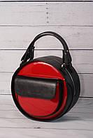 Женская, стильная, круглая сумка от производителя, чёрная с красным, фото 1