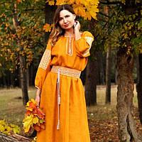 Платье в пол с вышивкой горчичного цвета из натурального льна, фото 1