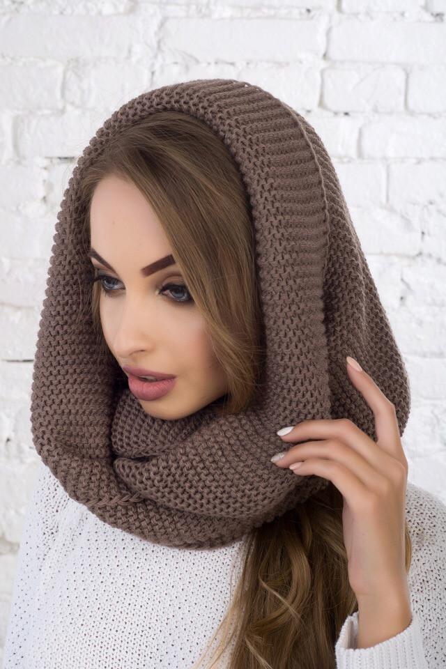 женский вязаный шарф хомут восьмёрка в разных цветах продажа цена