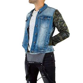 Джинсовая куртка мужская с кожаными рукавами Sixth June (Европа), Синий