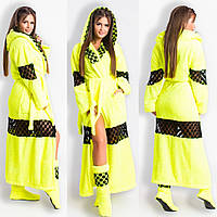 Домашний яркий лимонный шикарный махровый женский комплект: халат+сапожки для дома. Арт-4800