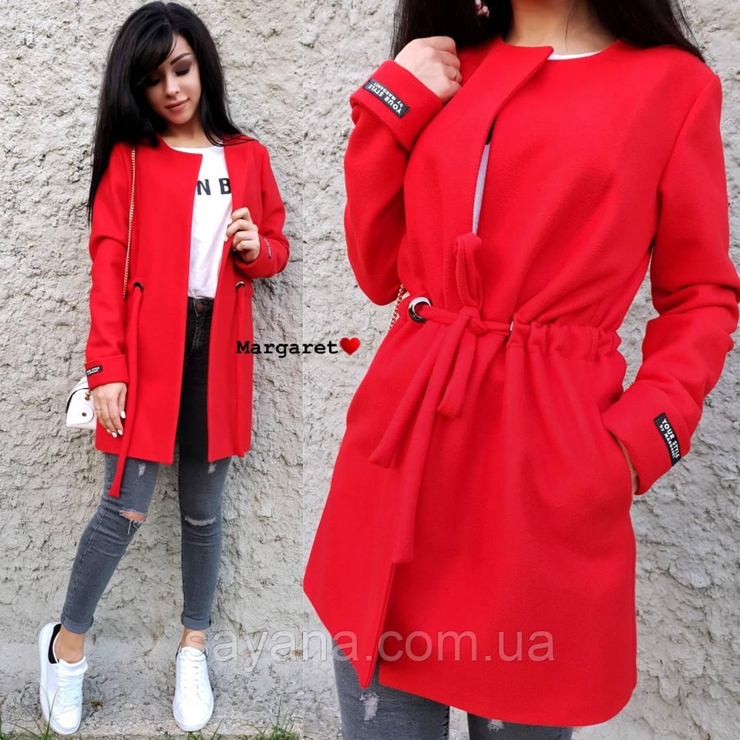 Женское пальто-кардиган на кулиске с карманами в расцветках. БЛ-2-1018