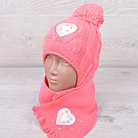 """Комплект (шапка+шарф) зимний детский """"Сердце"""" с завязками для девочки 1-2 года. Разные цвета. Оптом."""