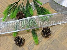 Лента-сетка новогодняя, 3,8 см, серебряная
