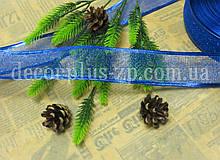 Лента-сетка новогодняя, 3,8 см, синяя
