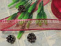 Лента-сетка новогодняя, 3,8 см, красная