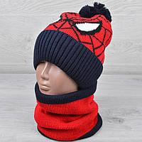 """Комплект (шапка+хомут) зимний детский """"Spider man"""" для мальчика 7-14 лет. Оптом."""