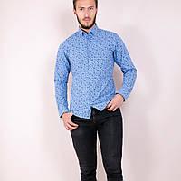 мужская рубашка цветок голубая , фото 1