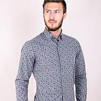 Мужская рубашка цветок серая