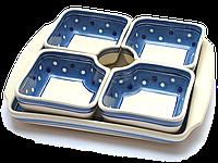 Керамическая менажница квадратная. Набор салатников с подносом, 5 предметов White & Blue Peas