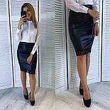 Женская черная юбка из эко-кожи с кружевом , фото 2