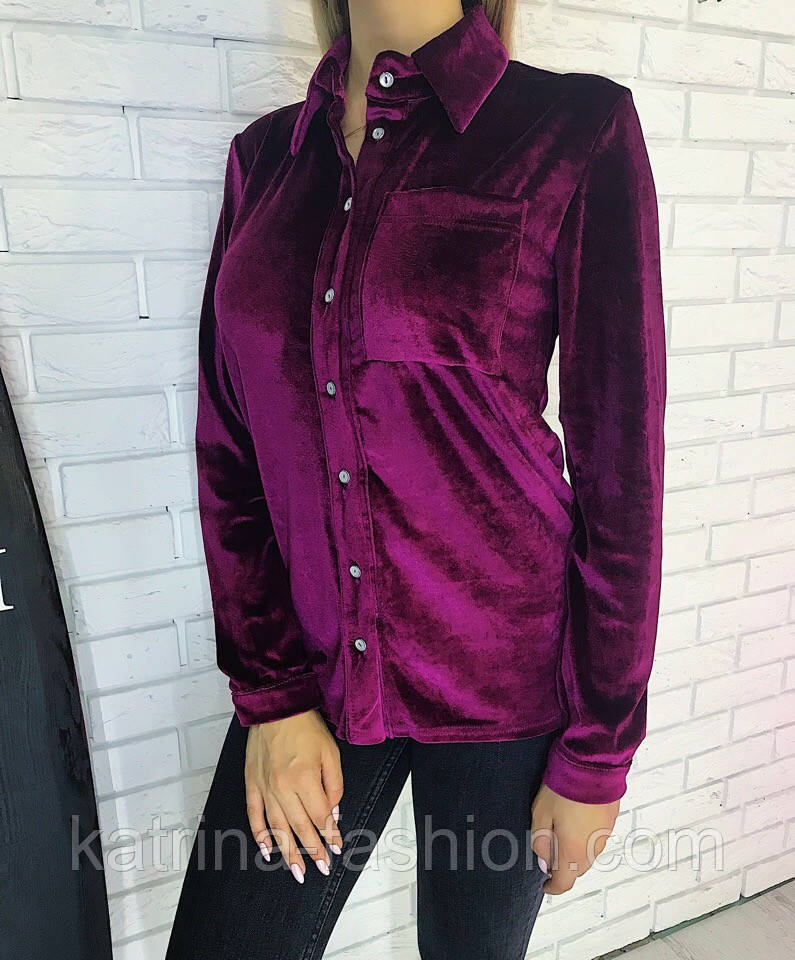 Женская бархатная рубашка (3 цвета)