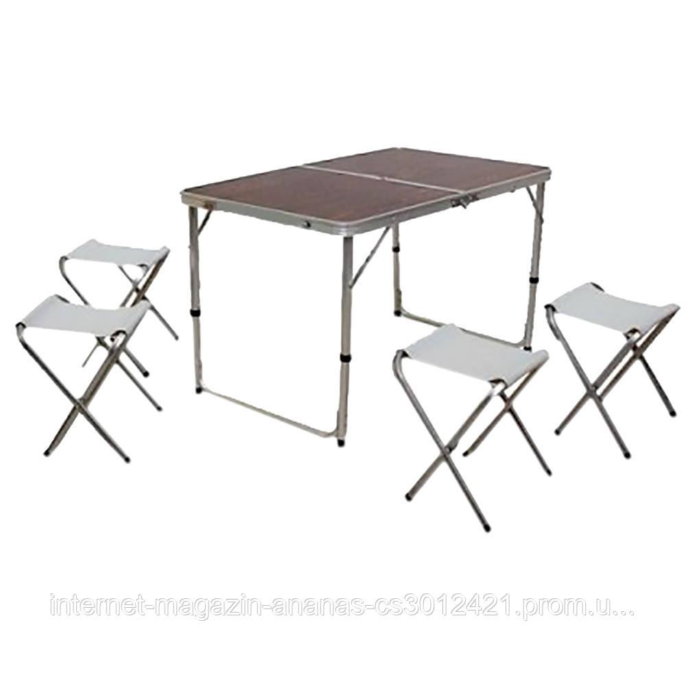 Стол для пикника, рыбалки складной + 4 стула 120x60