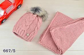 Шапка детская на девочку  с шарфом в комплекте на флисе зима, фото 2