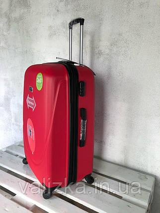 Большой пластиковый чемодан на 4-х колесах красный / Велика пластикова валіза на колесах червона Польша , фото 2
