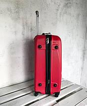 Большой пластиковый чемодан на 4-х колесах красный / Велика пластикова валіза на колесах червона Польша , фото 3
