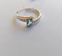 Кольцо женское серебряное Лилас с золотом и голубым камнем , фото 1