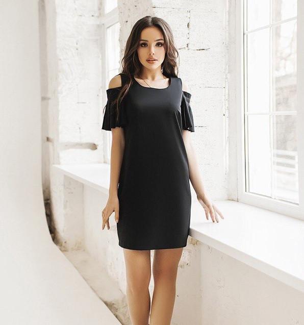 e821ac74dbe4130 Платье с плечиками в складочку. Чёрное, 4 цвета., цена 313,34 грн ...