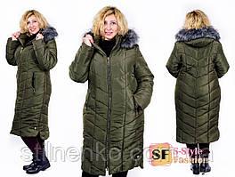 Женская удлиненная куртка-пуховик на синтепоне 300