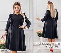 Платье 382 украшено рюшами R-19760 черный