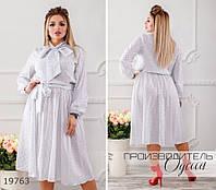 Платье 381 в мелкий горох с поясом на резинке R-19763 белый