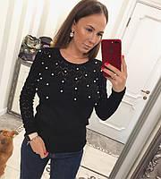 Черный свитер ажурной вязки, фото 1