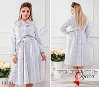 Платье 381 в горох с поясом на резинке R-19764 молочный