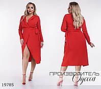Платье 1112/1 на запах R-19785 красный